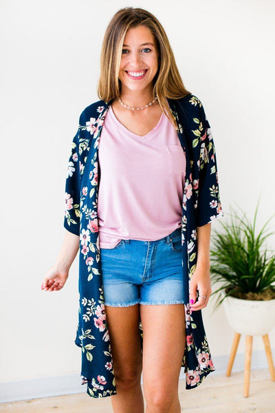Tops Many Wonders Navy Floral Kimono - Lotus Boutique
