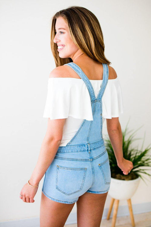 Light Wash Short Overalls