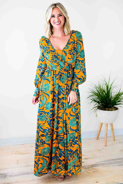 Dresses She's Going the Distance Floral Maxi Dress - Lotus Boutique