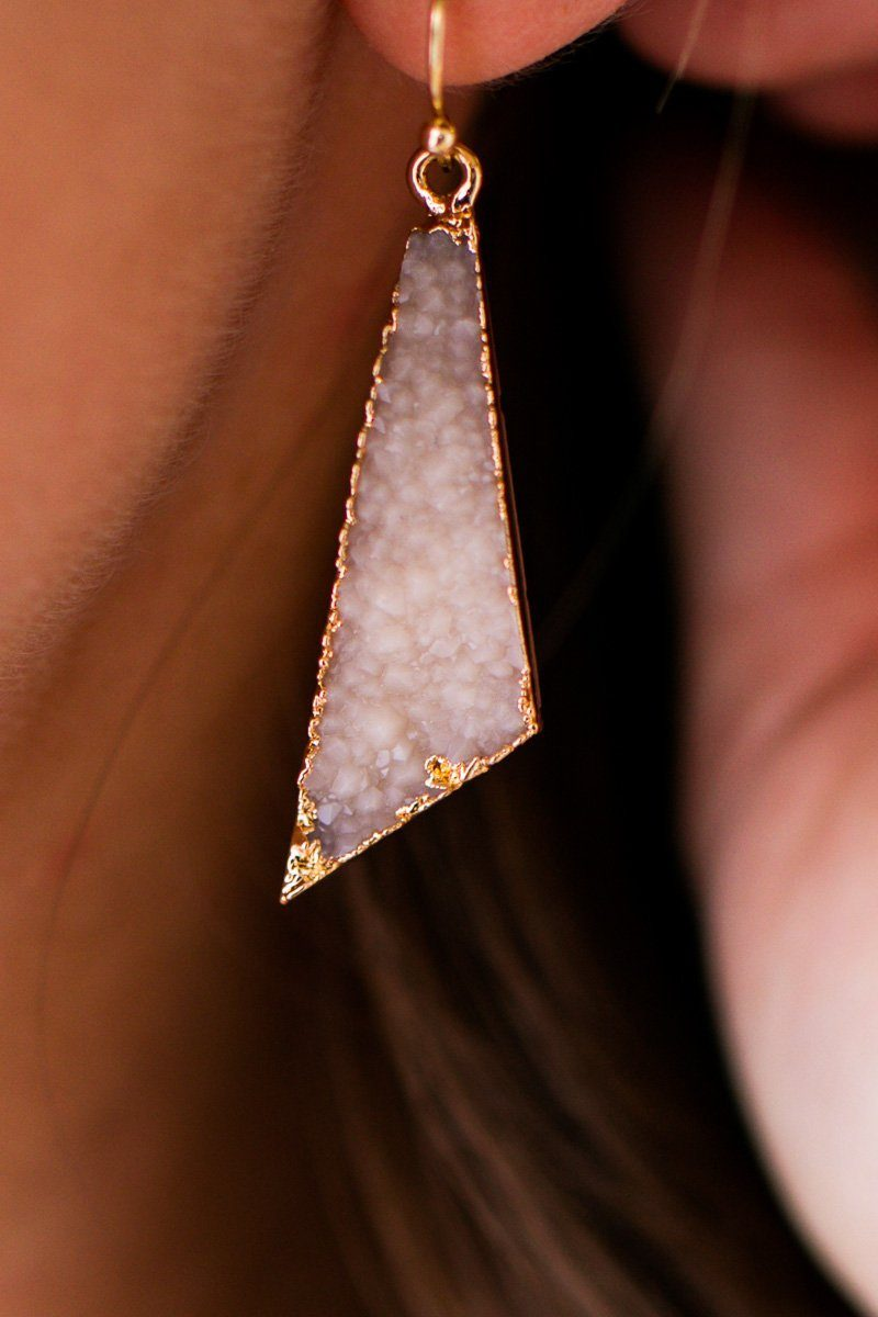 Druzy Taupe Earrings