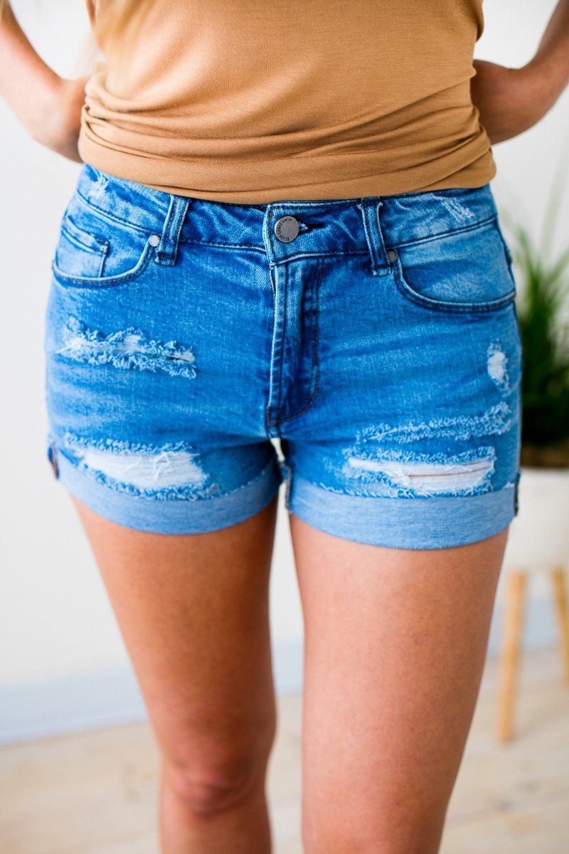 Bottoms Team Summer Cuffed Distressed Denim Shorts - Lotus Boutique