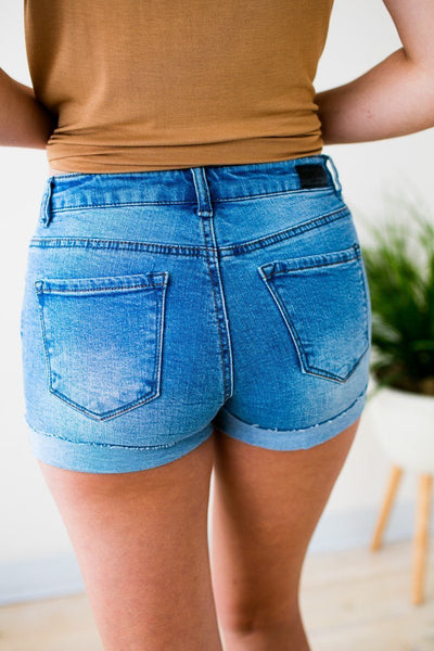 Team Summer Cuffed Distressed Denim Shorts