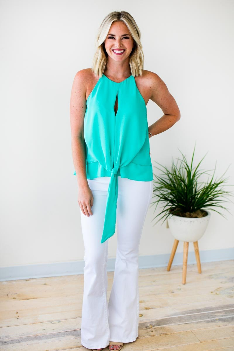 Tops Explore Tonight Tie Front Keyhole Tank in Sea Foam - Lotus Boutique