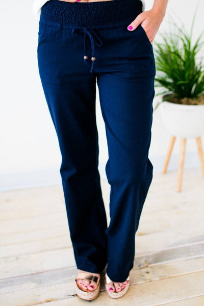 Navy Linen Smocked Waist Pants