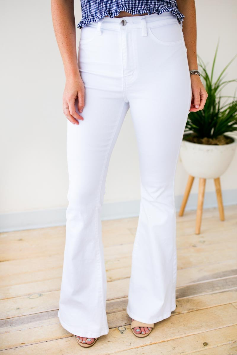 Bottoms Truth or Flare High Waist White Flare Jeans - Lotus Boutique