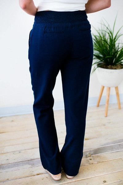 Smocked Waist Navy Linen Pants