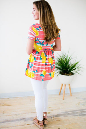 Lemon Detail Stripe Babydoll Top