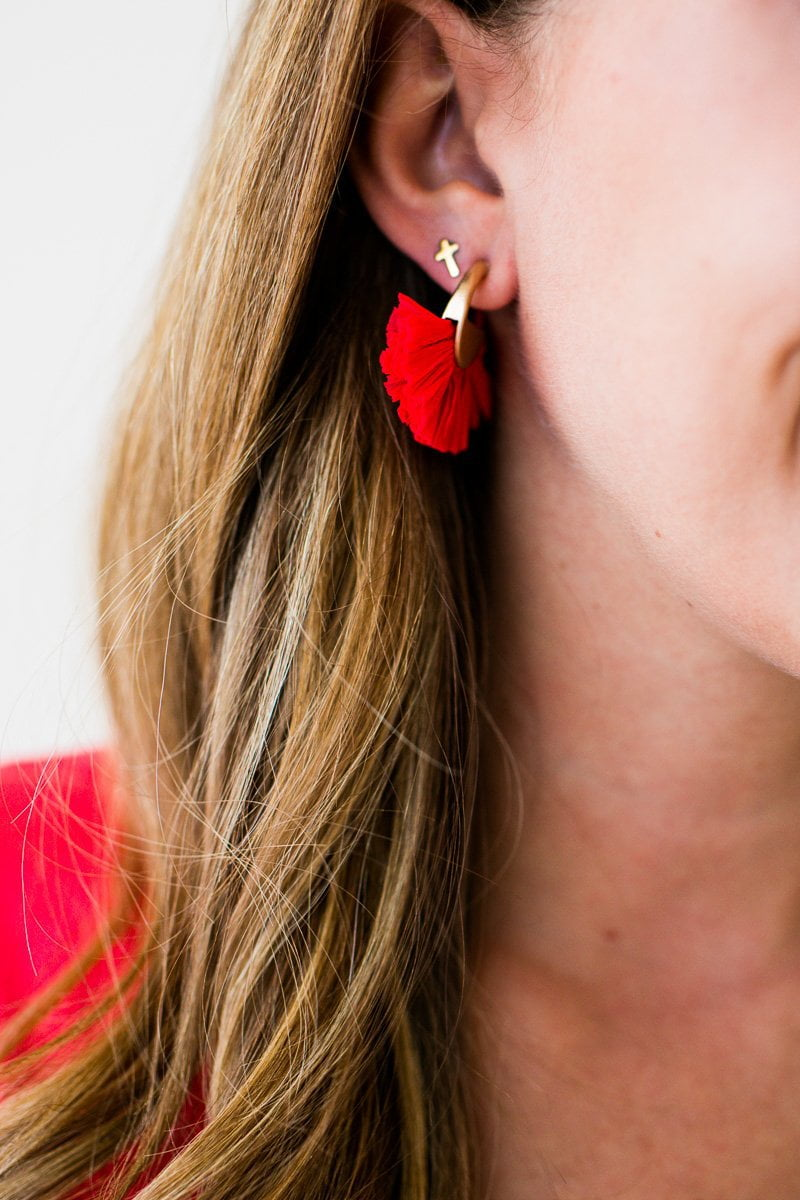 Accessories Someday Raffia Circle Tassel Earrings in Coral - Lotus Boutique