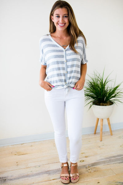 Tops Lucky Charm Stripe Tie Front Top in Grey - Lotus Boutique