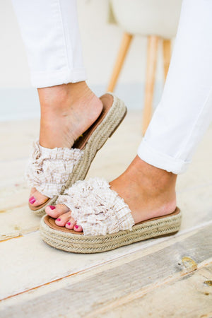 On The Run Ruffle Slip On Espadrille Platform Sandal