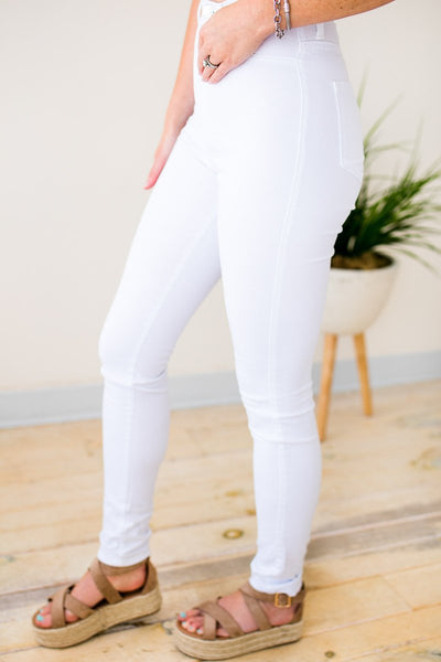 Bottoms Casablanca White High Waist Skinny Jeans - Lotus Boutique