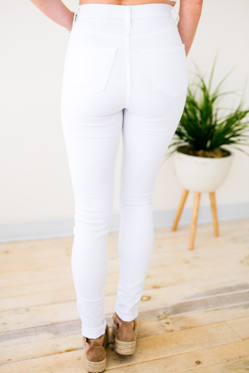 High Waist White Skinny Jeans