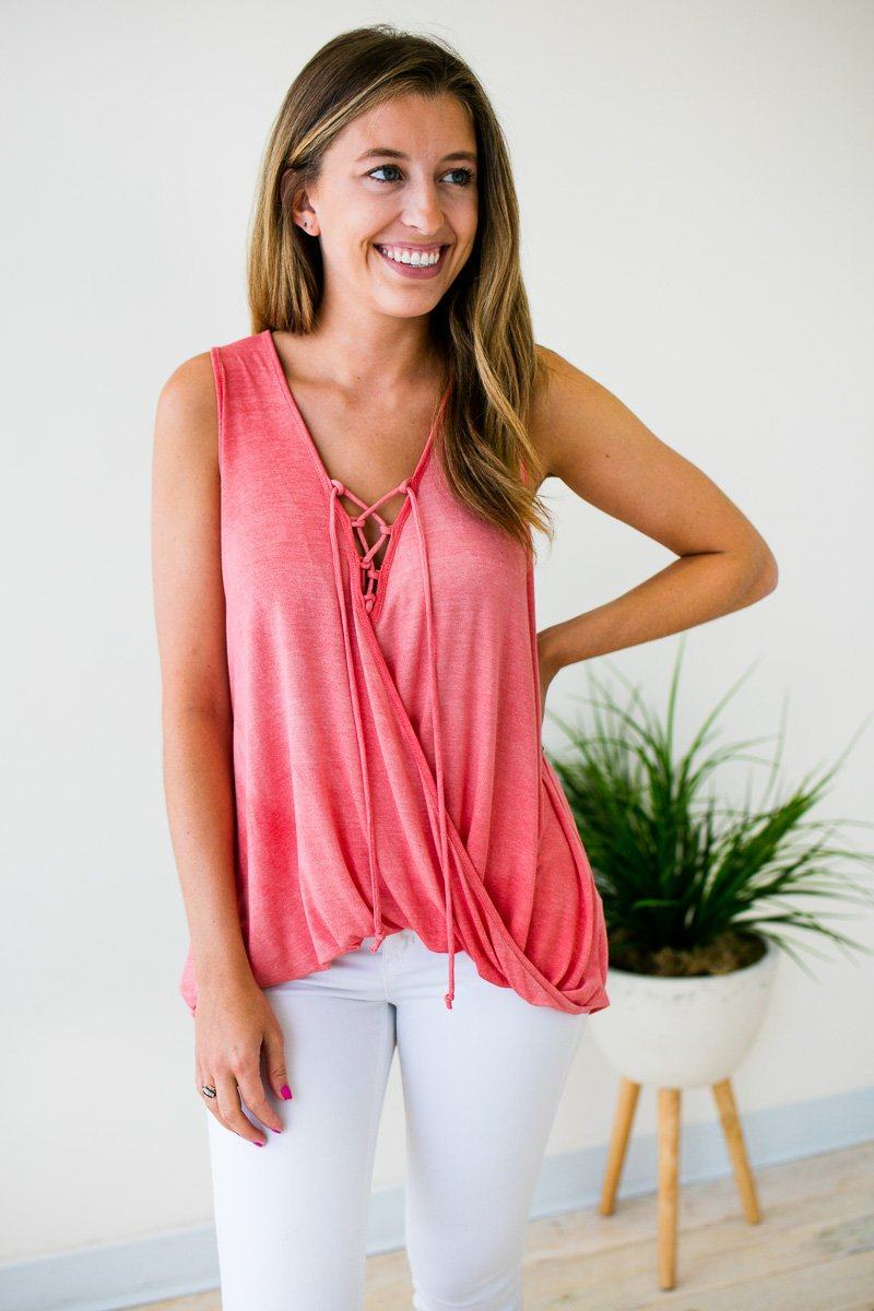 Lace Up Surplice Tank