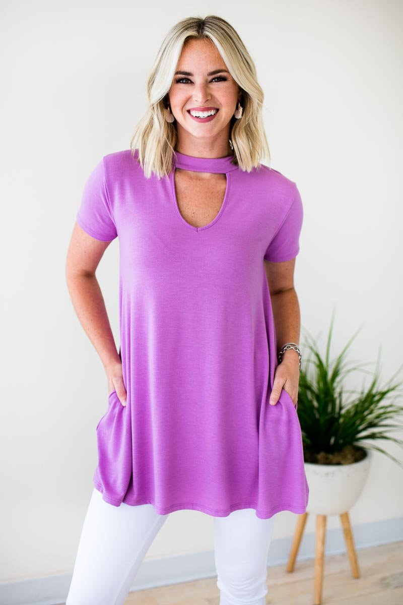 Choker Neck Purple Tunic