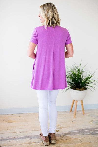 Tops Pocket of Love Choker Neck Tunic - Lilac - Lotus Boutique