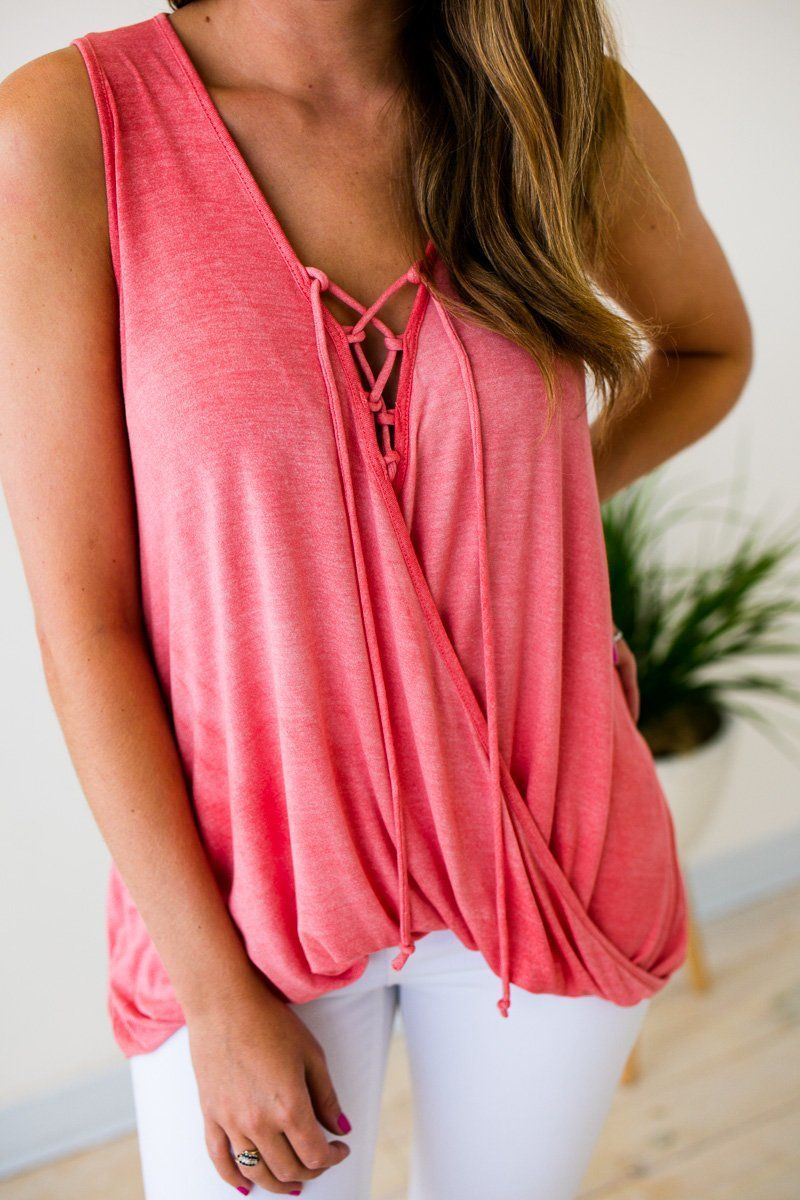 Tops Nashville Summer Coral Lace Up Tank - Lotus Boutique