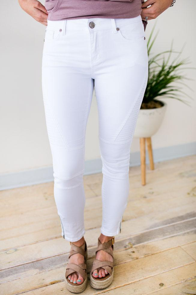 Bottoms Pop Style White Moto Jeans - Lotus Boutique