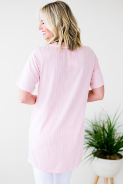 Tops Shine Your Light Pinstripe Baseball Tunic - Lotus Boutique