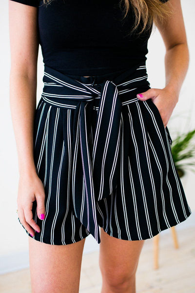 Bottoms Something Real Stripe High Waist Shorts - Lotus Boutique