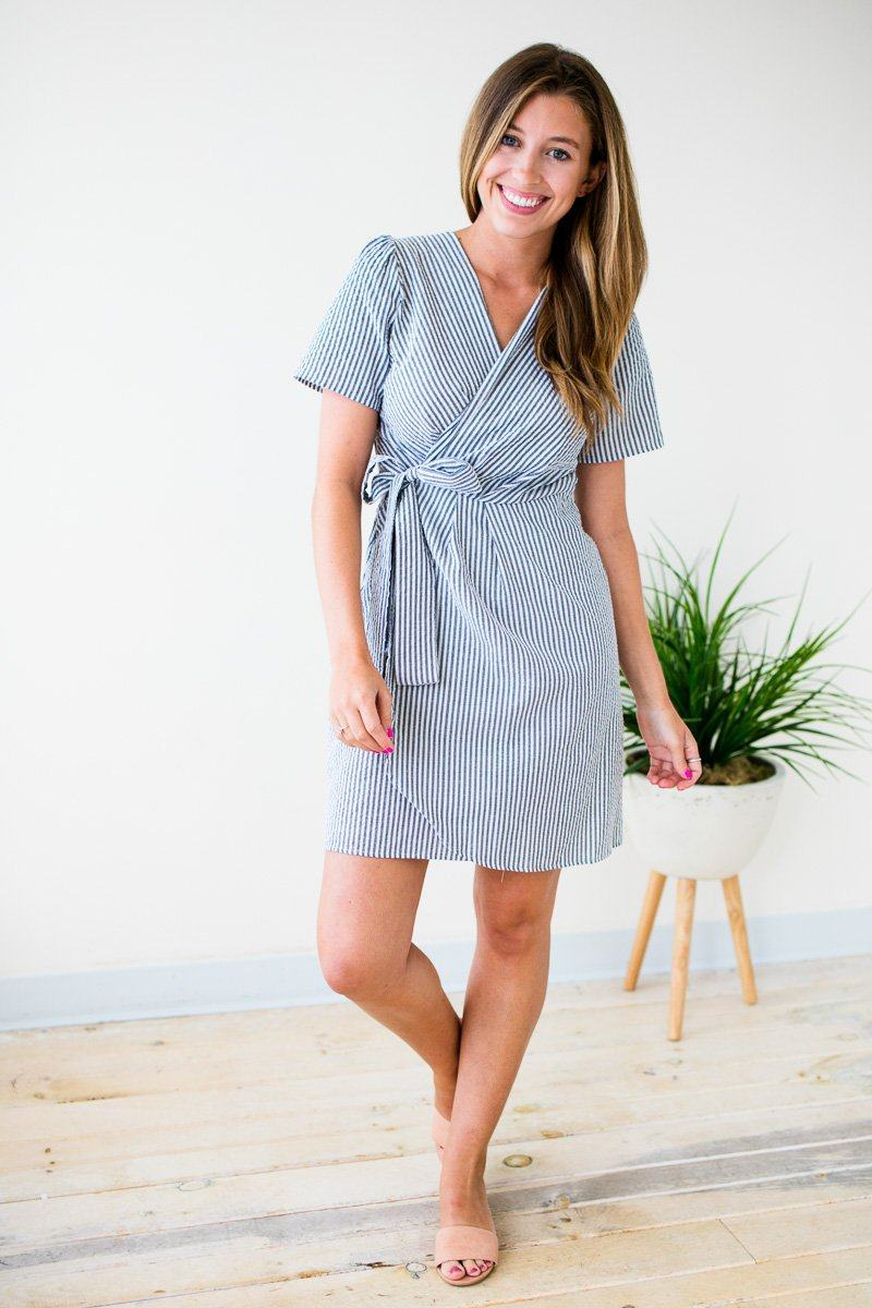 Grey Seer Sucker Wrap Dress