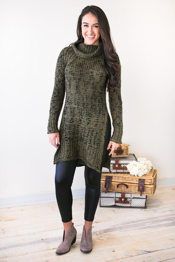 1fb7f683b1 Winter Daydreams Cowl Neck Sweater Tunic- Olive - Lotus Boutique