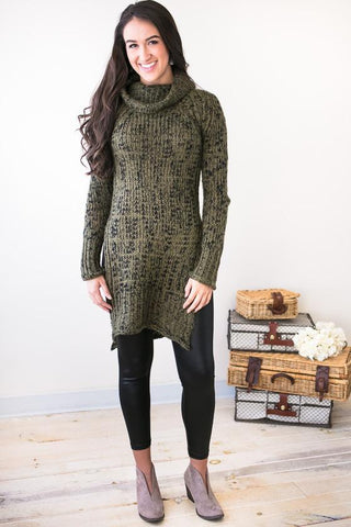 Winter Daydreams Cowl Neck Sweater Tunic- Olive
