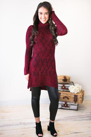 Winter Daydreams Cowl Neck Sweater Tunic- Wine