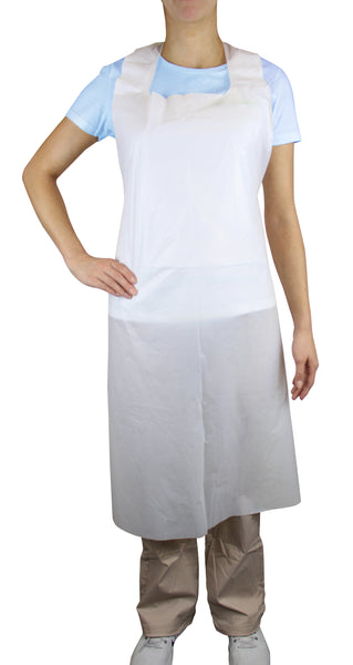 Disposable Plus White Poly Aprons 28-inch x 46-inch, 1.0 mil
