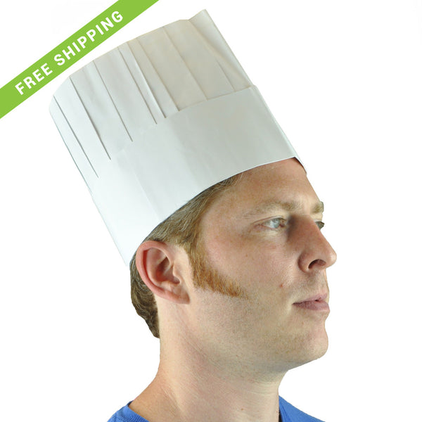 Adjustable Disposable Chef Hat Pleated Paper, White, 7.5""