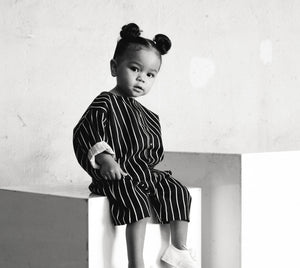Ava for même. wearing striped jumpsuit. Infants clothing, kids clothing