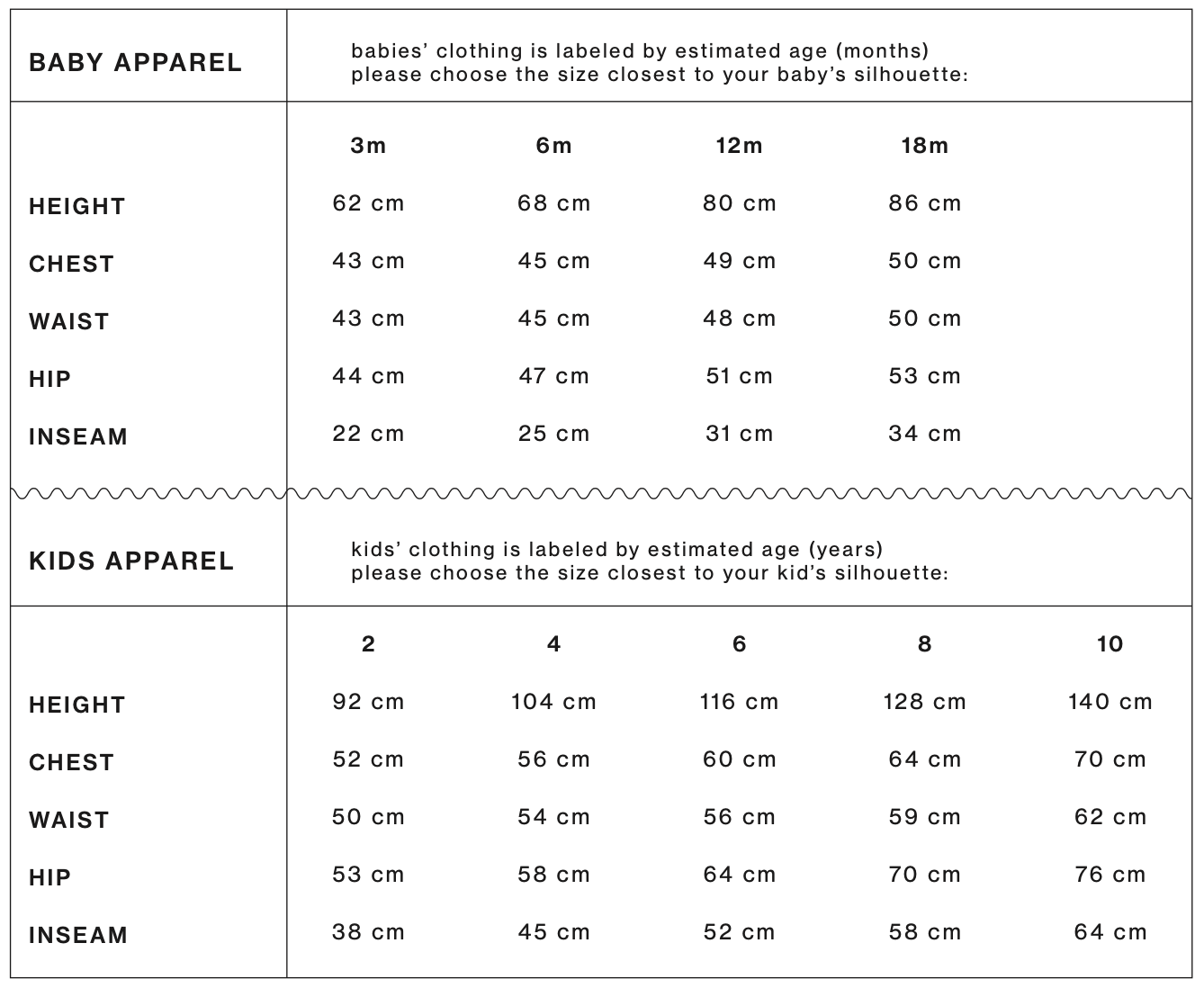 baby and kids size guide for apparel