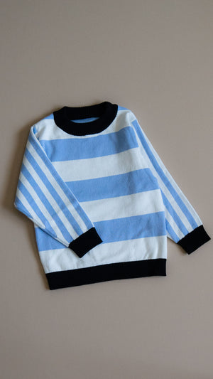 KIDS 'rei' knit sweater / blue stripes