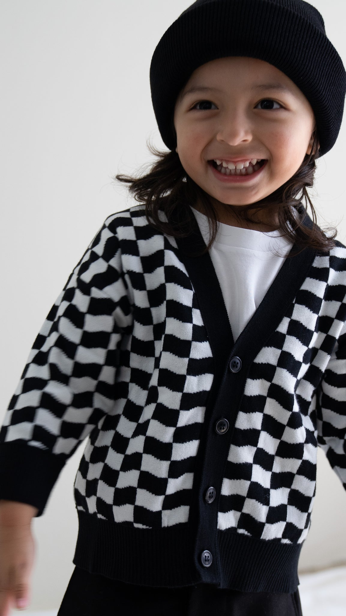 'wavy checkers' cardigan