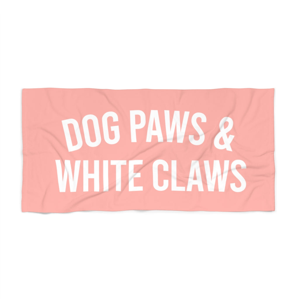 Dog Paws & White Claws Beach Towel