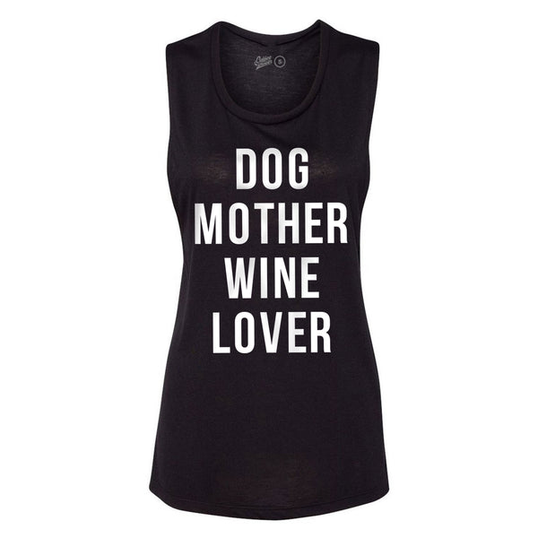 Dog Mother Wine Lover Muscle Tee