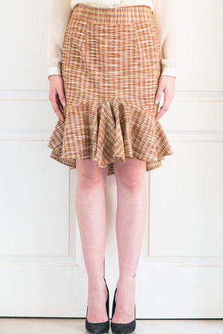 Brown Tartan Check Cotton Khadi Skirt