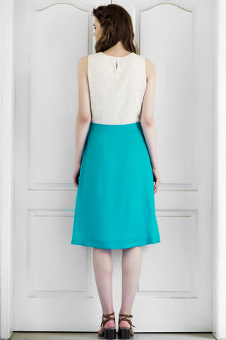 Teal Viscose Crepe Dress