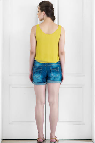 Yellow Summer Crush Georgette Top