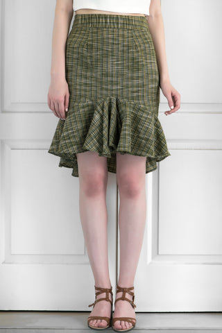 Green Tartan Check Cotton Khadi Skirt