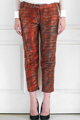 Mahogany Red Block Print Pencil Pants