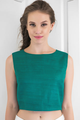 Green Raw Silk Crop Top