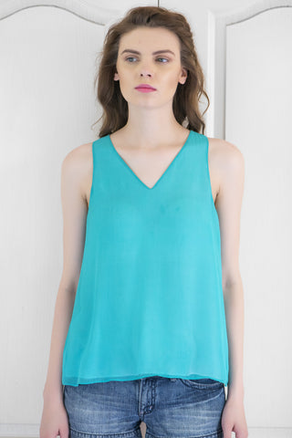 Teal Summer Crush Georgette Top