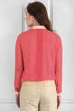 Coral Georgette Pleated Shirt