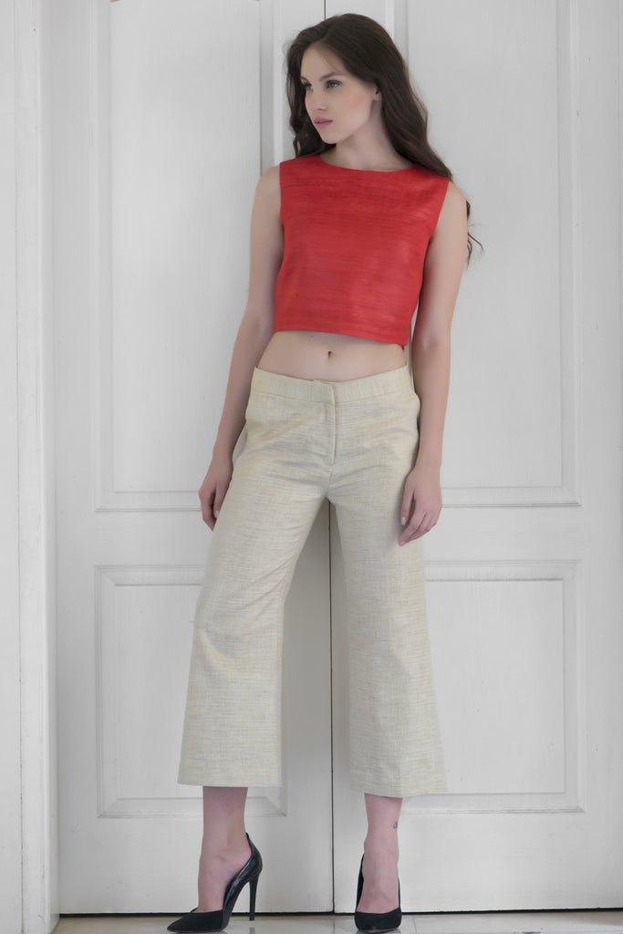 Carnelian Red Raw Silk Crop Top