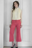 French Rose Coral Cotton Silk Pants