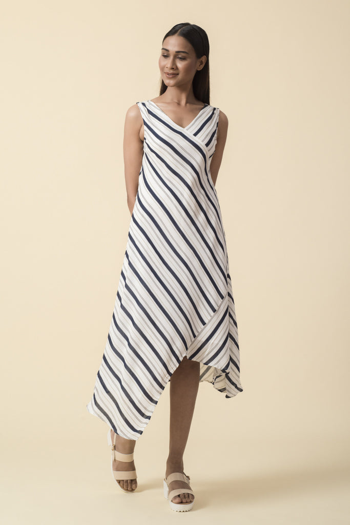 Printed Striped Asymmetrical Midi Dress