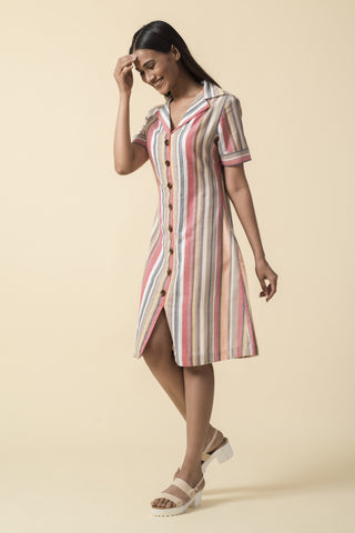 Multicolor Striped Front Slit Shirt Dress