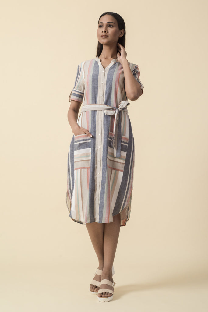 Multicolor Striped Shirt Dress