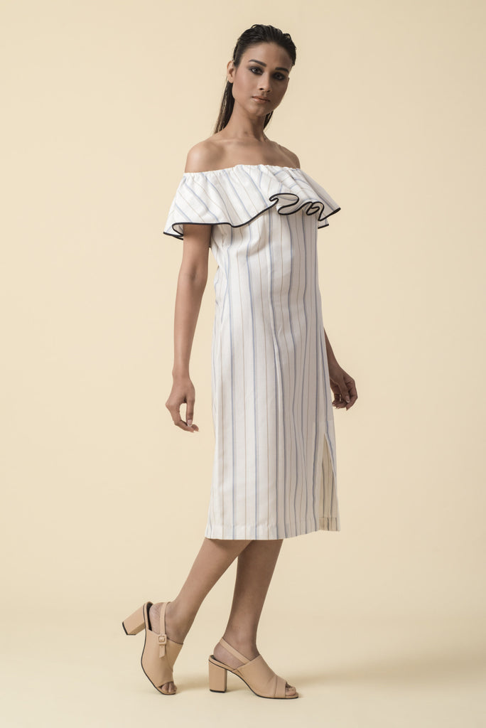 Striped Off Shoulder Front Slit Dress
