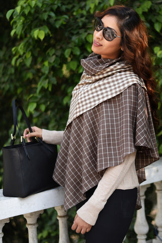 Brown Winter Waffle Layered Cape